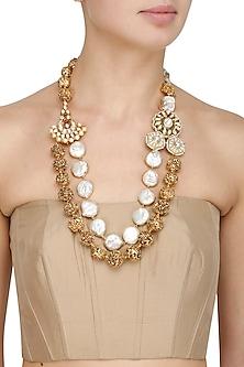 Gold Finish Kundan and Pearls Temple Beads Necklace by Moh-Maya by Disha Khatri