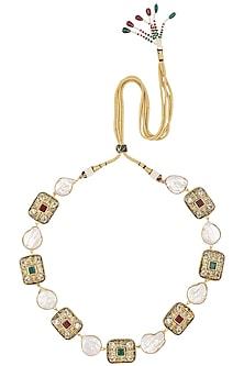 Gold Finish Sea Pearl and Semi Precious Kundan Necklace by Moh-Maya by Disha Khatri