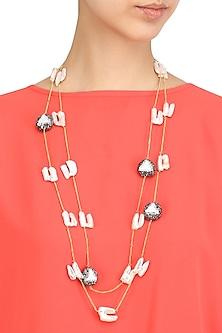 Pink Sea Rock Pearl Double Layered Necklace by Moh-Maya by Disha Khatri