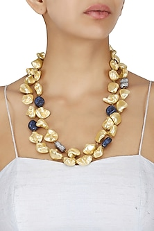 Twin Line Cream Gold Baroque Pearls Necklace by Moh-Maya by Disha Khatri