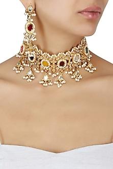 Gold Plated Kundan and Semi Precious Stones Rajwada Choker Necklace Set by Moh-Maya by Disha Khatri