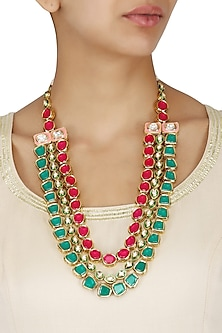 Gold Plated Emerald, Magenta and Polki Stone 3 Line Necklace