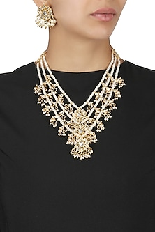 Gold Plated 3 Layer Kundan and Pearls Studded Rani Necklace