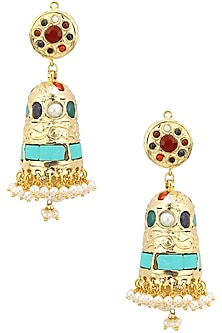 Gold Plated Turquoise and Red Mughal Jhumkas by Moh-Maya by Disha Khatri