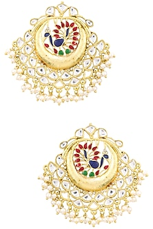 Gold Plated Kundan Studded Peacock Motif Chandbali Earrings by Moh-Maya by Disha Khatri