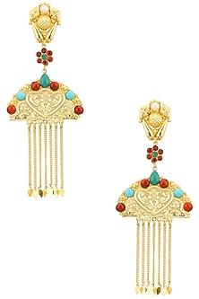 Gold Plated Pearls, Red and Turquoise Stone Studded Mughal Earrings by Moh-Maya by Disha Khatri