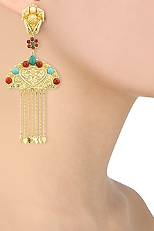 Gold Plated Pearls, Red and Turquoise Stone Studded Mughal Earrings