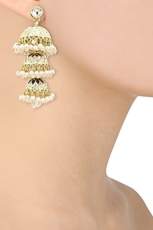 Gold Plated Tiered Polki and Meenakari Jhumki Earrings