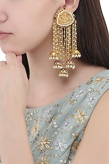 Gold Plated Kundan and Pearl Temple Earrings by Moh-Maya by Disha Khatri