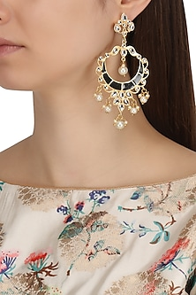 Gold Plated Kundan and Black Meenakari Work Chandbali Earrings