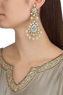 Gold Plated Kundan and Aqua Semi Precious Stones Chandbali Earrings