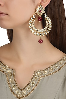 Gold Plated Kundan and Maroon Semi Precious Stones Chandbali Earrings by Moh-Maya by Disha Khatri