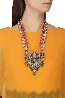 Gold Plated Temple Motif and Kundan Necklace