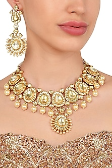 Gold Plated Polki Cut Kundan Necklace with Earrings by Moh-Maya by Disha Khatri