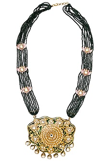 Gold Plated Green Lotus Pendant Necklace by Moh-Maya by Disha Khatri