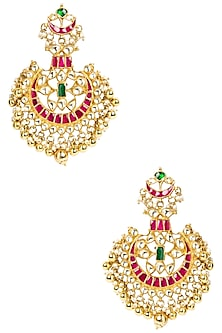 Gold Plated Emerald Beads and Gold Drop Earrings by Moh-Maya by Disha Khatri