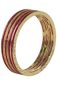 Set Of 4 Gold Plated Bangles with Magenta Stones by Moh-Maya by Disha Khatri