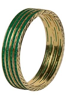 Set Of 4 Gold Plated Bangles with Emerald Semi Precious Stones by Moh-Maya by Disha Khatri