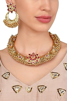 Gold Plated Kundan Necklace with Rajwada Haasli Work and Matching Earrings