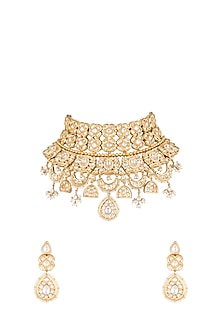 Gold Plated Kundan & Pearl Choker Necklace Set by Moh-Maya by Disha Khatri