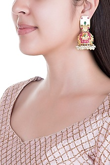 Gold Plated Emerald, Hot Pink Stones & Pearls Jhumka Earrings by Moh-Maya by Disha Khatri