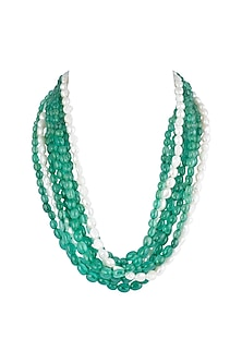 Green Stones & Pearls Layered Necklace by Moh-Maya by Disha Khatri