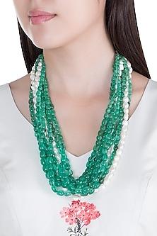 Green Stones & Pearls Layered Necklace by Moh-Maya by Disha Khatri