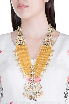 Gold Plated Sunflower Beads, Kundan & Pearls Necklace by Moh-Maya by Disha Khatri