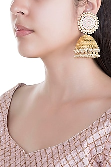 Gold Plated Pearls Jhumka Earrings by Moh-Maya by Disha Khatri