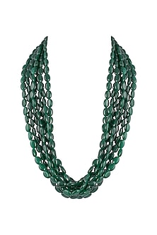 Green Emerald Beaded Layered Necklace by Moh-Maya by Disha Khatri