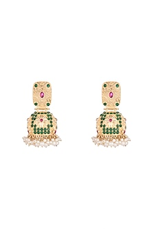 Gold Plated Hot Pink Pearl Jhumka Earrings by Moh-Maya by Disha Khatri