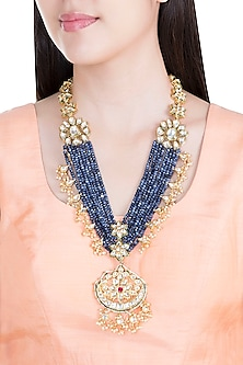 Gold Plated Blue Beads, Kundan & Pearls Necklace by Moh-Maya by Disha Khatri