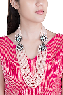Pink Beaded Kundan Necklace by Moh-Maya by Disha Khatri