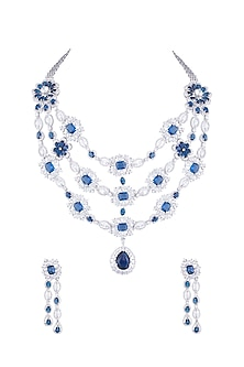 Silver Plated Diamond & Sapphire Necklace Set by Moh-Maya by Disha Khatri