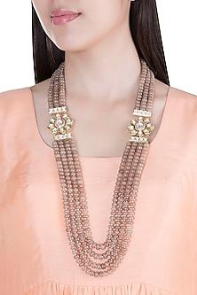 Gold Plated Brown Beads & Kundan Necklace by Moh-Maya by Disha Khatri