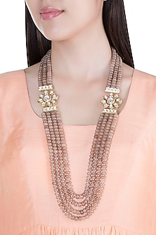 Gold Plated Brown Beads & Kundan Necklace by Moh-Maya by Disha Khatri