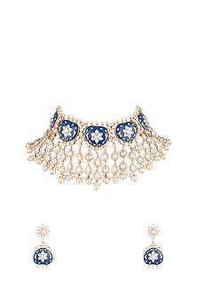 Gold Plated Ink Blue Pearls & Kundan Necklace set by Moh-Maya by Disha Khatri