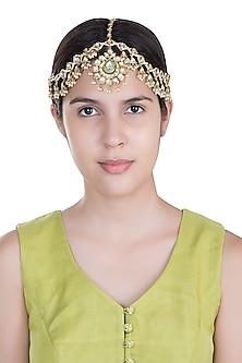 Gold Plated Kundan Mathapatti by Moh-Maya by Disha Khatri