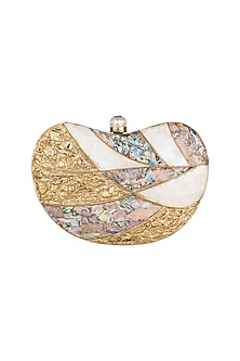 Gold High Quality Seashell Clutch by Moh-Maya by Disha Khatri