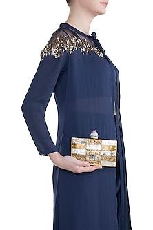 Gold High Quality Sea Shell & Blue Shell Clutch by Moh-Maya by Disha Khatri