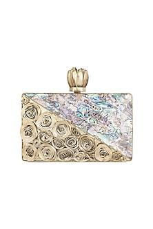 Gold High Quality Brass Sea Shell Clutch by Moh-Maya by Disha Khatri
