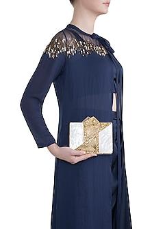 Gold & White High Quality Seashell Clutch by Moh-Maya by Disha Khatri