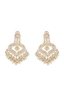 Gold Finish Kundan Long Chandbali Earrings by Moh-Maya by Disha Khatri