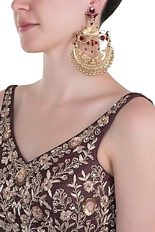 Gold plated long red chandbali earrings
