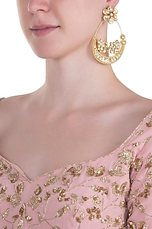 Gold plated pachi kundan chandbali earrings