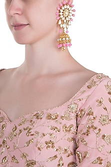 Gold plated rose pink stone and pachi kundan jhumka earrings