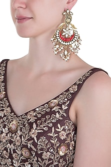 Gold plated polki, pearl and red stone long chandbali earrings