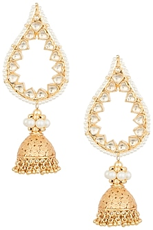 Gold plated long leaf jhumki earrings by MOH-MAYA BY DISHA KHATRI
