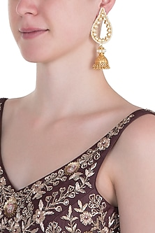 Gold plated long leaf jhumki earrings