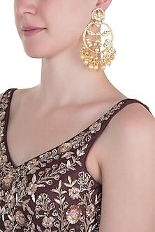 Gold plated long net chandbali earrings by MOH-MAYA BY DISHA KHATRI